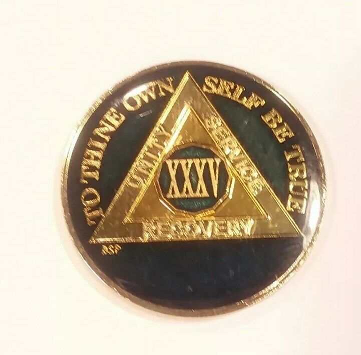 35 Year AA Sobriety Coin Medallion- Rich Midnight Blue Enamel 35th Year XXXV