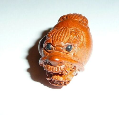 """Adorable Dragon Hand-Carved Boxwood Bead Button Two End Dragon 1-1/2"""" x 5/8"""""""