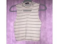 Black and Cream stripped V-neck crop top