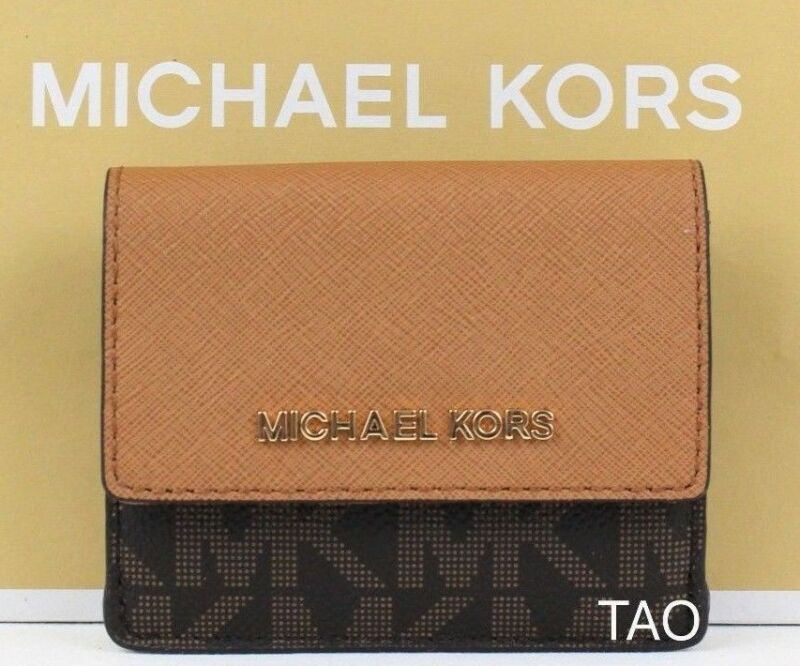 68d6564ca641 Michael Kors Jet Set Travel Credit Card ID Holder Key Coin Case Wallet PVC  Brown