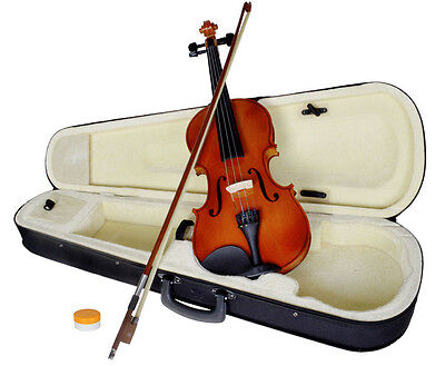 New 4/4 Full Size Natural Acoustic Wood Color Violin Fiddle with Case Bow Rosin on Rummage