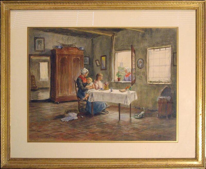 Thomas Raphael Congdon Original Watercolor Painting, Dutch Interior Scene, Obo!