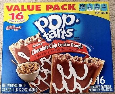NEW Pop Tarts Toaster Pastries Frosted Chocolate Chip Cookie Dough 16 Count  Chocolate Chip Cookie Dough Pop Tarts