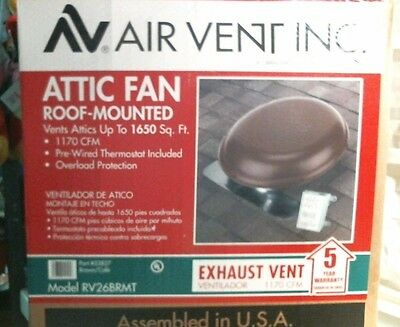 Air Vent Inc. Attic Fan Roof Mounted 12125 FREE SHIPPING