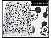 RIVER ISLAND Brand New Sweatshirt with All Over Mickey Print size 10 RRP £30