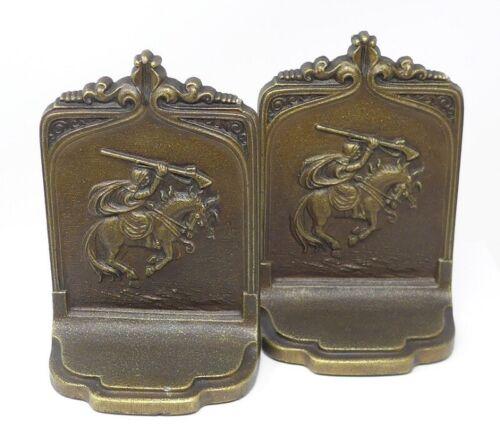 Antique Art Nouveau Bradley Hubbard Charging Horseman Horse Bookends circa 1920