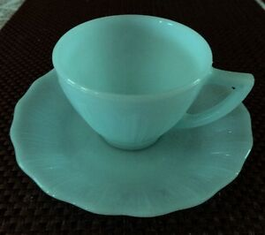 Vintage Pyrex Turquoise Robin's Egg Blue Teacup and Saucer