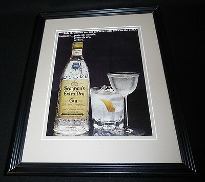 1965 Seagram's Extra Dry Gin 11x14 Framed ORIGINAL Advertisement