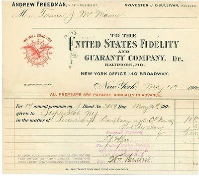 United States Fidelity   Guaranty Co  Billhead  Ny 1900