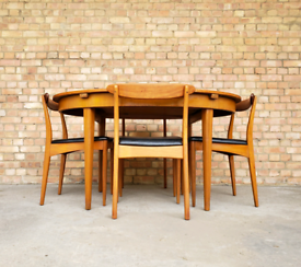 Vintage mid century Greaves & Thomas teak extend dining table & chairs