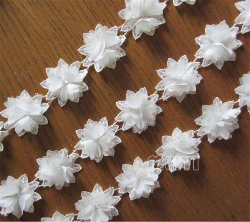 Fabric Flower Trim: Vintage White 3D Flower Petals Lace Trim Chic Wedding