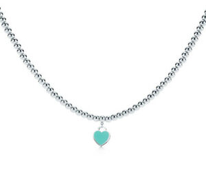 Toffany & Co beads blue heart tag necklace