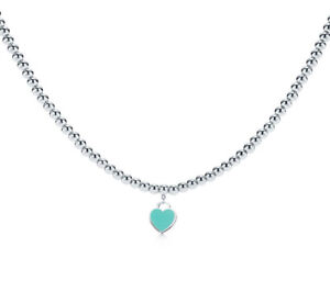 Tiffany & Co beads blue heart tag necklace