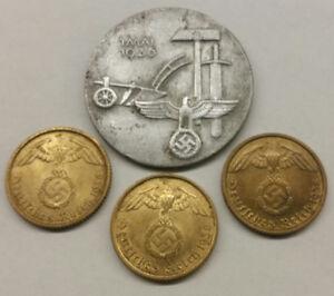 German Labour Day badge 1936 + 3 coins 10 pfennig 1938 - 1939