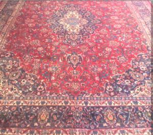 """Very Large 13"""" x 9.6"""" Genuine Semi Antique Persian Mashhad Rug"""