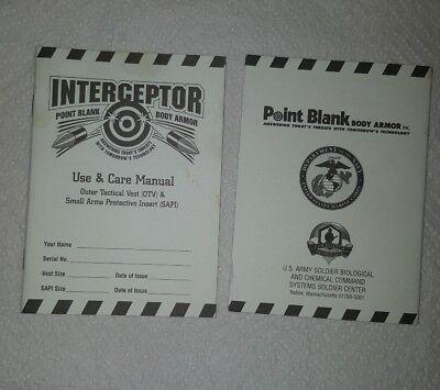 Point Blank Interceptor OTV AND SAPI Use and Care Manual