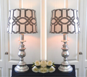 """2 Refinished LED Tri-Light with New Shades Table Lamps, H26"""""""