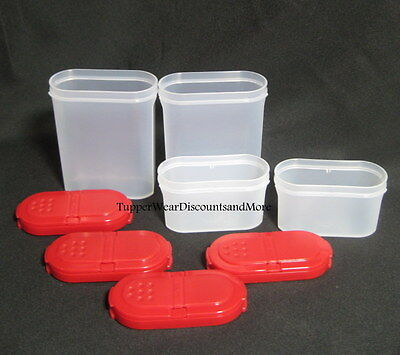 Tupperware NEW Set 4 Modular - 2 Large & 2 Small Spice Shaker Shakers RED Seals