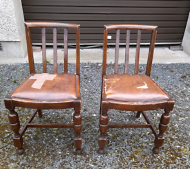 Pair of oak vintage dining chairs for painting and recovering