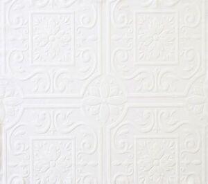 Medium ceiling tile raised white textured paintable for Paintable wallpaper home hardware