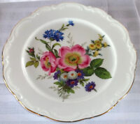 MOVING SALE--Porcelain Flowered Plate from 1950 Bavaria by JWK