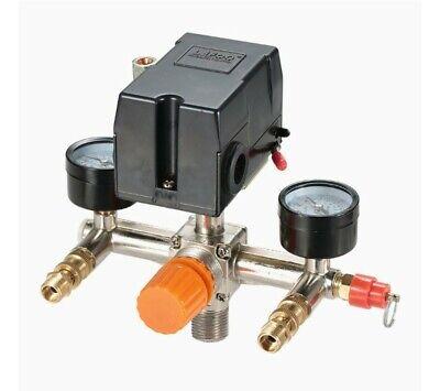 Pressure Switch Manifold Regulator Gauges Air Compressor Control Valve 90-120psi