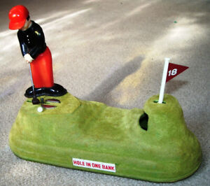 VINTAGE 1960'S GOLF MECHANICAL BANK FROM JAPAN.