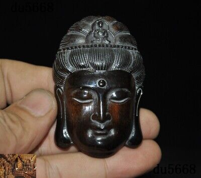 "2.4/"" Chinese Box-wood Hand Carving Kwan-yin Guan Yin Buddha Head Amulet Pendant"