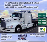 Hiring Class 1 Flatbed Reefer  Driver 60 Cent per Mile