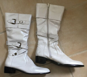 Austin Powers 60's GENUINE LEATHER White Knee-High Boots