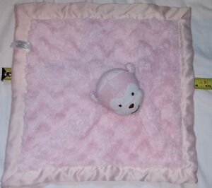 Soft Fur & Sateen Pink Baby Blanket with Plush Monkey