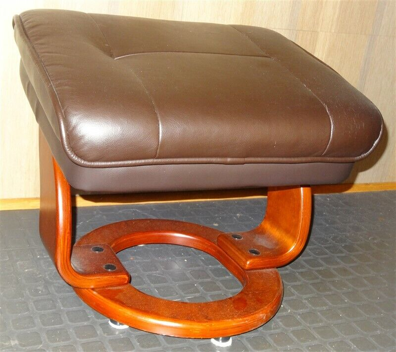 Danish Modern Brown Faux Leather Benchmaster Stressless Style Ottoman