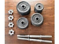 Cast Iron Weight Plates and Dumbbell Set 71kg Total
