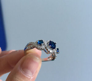 Sterling Silver Sapphire Ring - Size 8