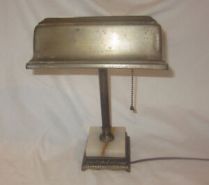 Antique Desk Lamp Brass With Marble Base
