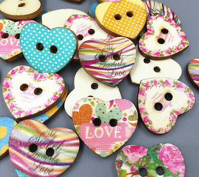 - Heart-shaped printing Mixed-color Sewing Wooden Buttons scrapbooking 24mm