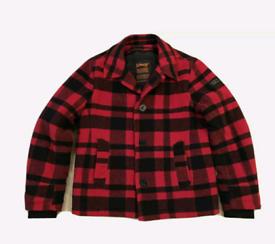 Schott NYC Red Black Buffalo Check Wool Jacket Peacoat XL