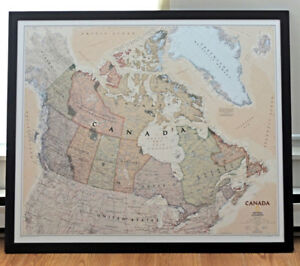 Large Framed National Geographic Map of Canada only $60