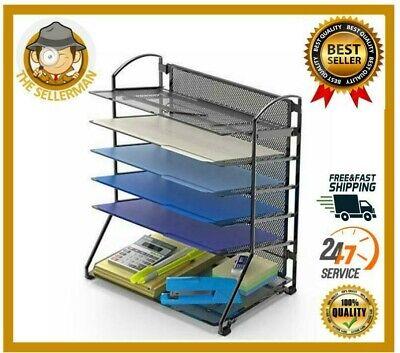 6 Tray Desk Organizer Paper Holder Stand Tier Rack Supplies Sliding Drawer Black