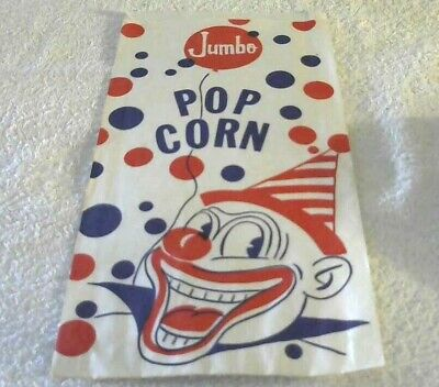 Rare Old Vintage Original Jumbo Pop Corn Bag Picturing A Clown W/ Balloon 1950's