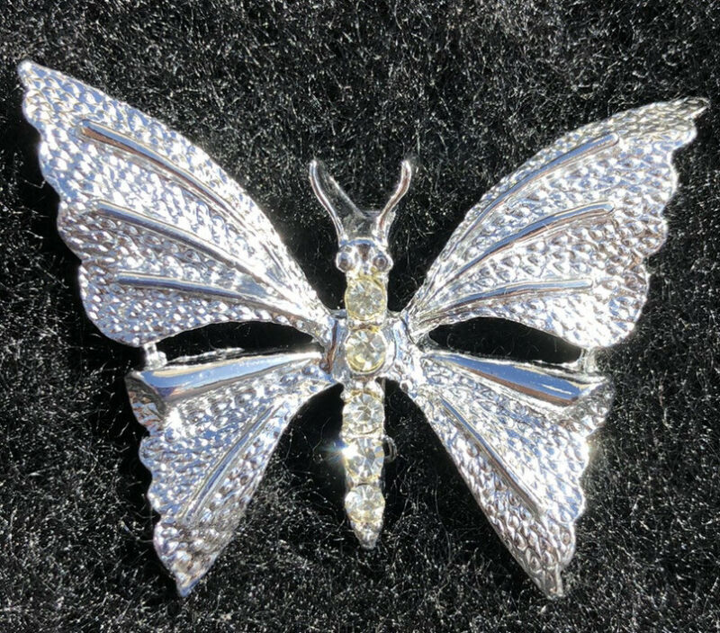 Vintage Brooch Butterfly Rhinestones Pin Signed Gerry