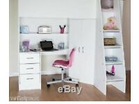 White wood bunk bed with desk, drawers and wardrobe