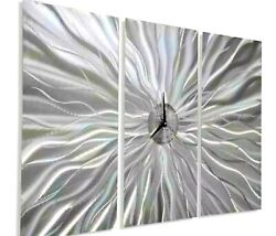 ULTRA COOL CLOCK Modern 3D Metal Wall Clock Art Abstract Silver Decor Jon Allen