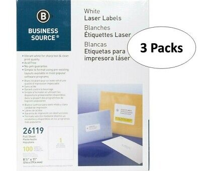 Business Source 26119 White Laser Label- 8.5 X 11 Full Sheet3 Pack
