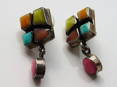 Vtg 925 Sterling Silver Earrings Drop Dangle Multi Color Inlay Pink Modern