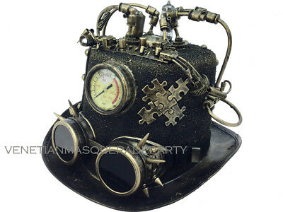 Men Steampunk Top Hat Time Traveler Lights Burning Man Party Halloween - Halloween Party Time