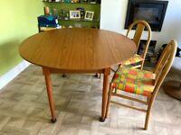 Vintage table, Circular, 6 seater original 1970's, very versatile as two wings fold down £110