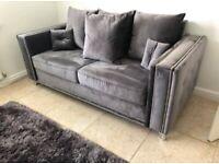 Zoey 3 + 2 Plush Steel Suite Sofa BRAND NEW