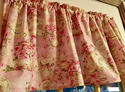 "Pink Seasoned Look Teacup Dishes 43""W 15""L  Curtain Valance Cotton Shabby Chic"