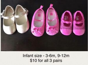3 pairs of infant shoes - $10 - size 3-6 mo, 9-12 mo.